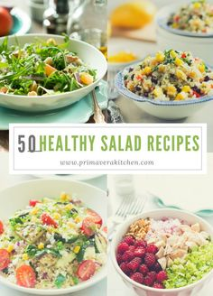 50 Healthy Salad Recipes - This 50 Healthy Salad Recipes post is going to give you a delicious list of gluten free, low carb, vegan and vegetarian salad recipes to help you eat healthier during the entire year. http://primaverakitchen.com