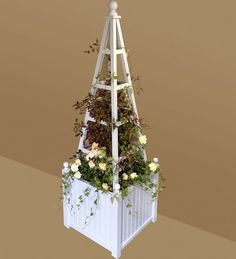 Wooden garden obelisk with Versailles Planter hand crafted from Accoya with 25 year timber guarantee and painted any colour We can now offer an Trough Planters, Wooden Garden Planters, Garden Bags, Small Space Gardening, Versailles, Garden Projects, Christmas Tree, Display, Colour