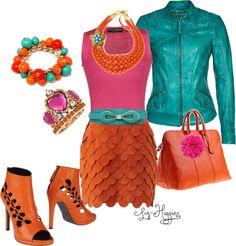 """""""Pink & Orange"""" by liz-higgins ❤ liked on Polyvore"""