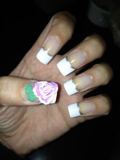 3D flower with French Manicure