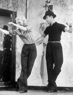 Ginger Rogers rehearsing with dance director Hermes Pan for Swing Time (1936)