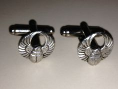 Men's Brand New Silver Stamped Scarab Beetle Cufflinks by RWHLynx, $21.99