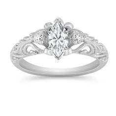 Vintage Diamond Engagement Ring with Pave Setting with Marquise Diamond