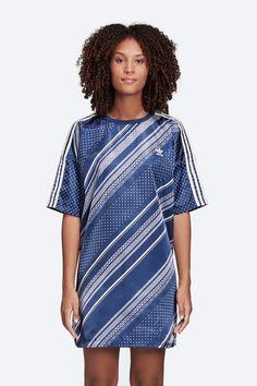 Letní šaty adidas Originals Trefoil — lesklé saténové — tmavě modré #dresses #summervibes #summerdresses
