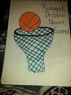 Rebound dribble shoot score basketball drawing