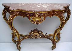 Regal Rose Marble Louis XIV Console Table