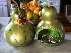 Grinch Gourd Candy Hideaway Signed. Handpainted. SO fun!!  | eBay