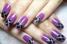 purple argyle nails