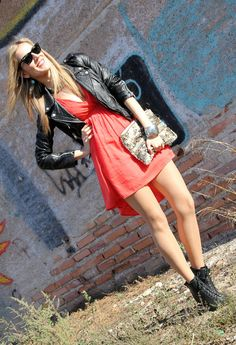 Black leather jacket: way to wear- Black leather jacket with sun dress and booties.