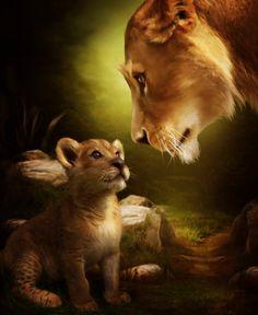 Yes, Momby *ElenaDudina   Digital Art / Photomanipulation / Animals & Plants ©2011-2013 *ElenaDudina Gato Grande, Lion Love, Animation, Cross Paintings, Wildlife Art, Mothers Love, Abstract Canvas, Canvas Art, Acrylic Canvas