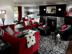 Pop Art Design for Living Room with Grey Sofa and Red Wall | Red ...