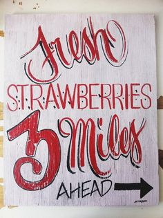 Fresh strawberries hand painted sign by TessBarber on Etsy, $25.00