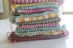 stack of knitted dishcloths * so pretty!