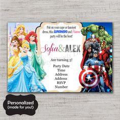 Princesses and Superheroes Birthday invite,Princesses and Avengers invite,JPG file,Invite,Combo party invite,Twin Party Invite,DPP100