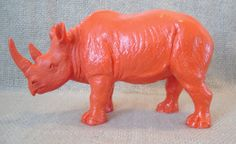 rhino / orange red / home decor / animal statue by juxtapositionsc