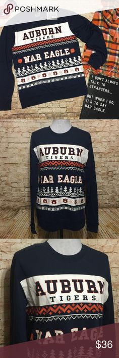 "Auburn Tigers Ugly Christmas Sweater Not-so-ugly Christmas sweater for the Auburn fan! Nice and warm navy blue sweatshirt with a white and orange screen-printed front. Says Auburn Tigers and War Eagle across the front with printed stitching and Christmas trees. NWT and officially licensed. The sizing is men's but this is a unisex item. Based on the below measurements it should fit a men's medium or a ladies large.   Measurements lying flat: • Bust: 20"" unstretched from armpit to armpit  •…"