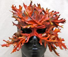 Leather leaf mask Autumn mask Red Oak Greenman by RiverGypsyArts, $200.00