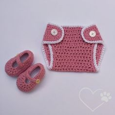Crochet Booties and Diaper Cover Set Crochet Baby by ForLittlePaws
