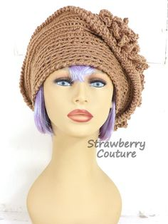 Crochet Hat Womens Hat Womens Crochet Hat Crochet Cloche Hat Steampunk Hat Toasted Almond Hat LINDA Cloche Hat by strawberrycouture by #strawberrycouture on #Etsy