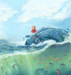 Fanart de Ponyo. https://lii-chan.deviantart.com/art/Ship-Shape-with-Ponyo-160887807