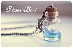 Paper Boat bottle Necklace. Ocean necklace, Glass Vial Necklace. Glass Bottle Pendant. Cute Necklace. Miniature bottle via Etsy