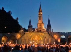 Lourdes, France - Candlelight Procession at the Basilica of St. Thérèse of Lisieux