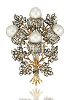 A CULTURED PEARL AND DIAMOND BROOCH, BY BUCCELLATI Of foliate spray design, composed of cultured pearl and rose-cut diamond buds among rose-cut diamond leaves, 5.3cm long, maker's pouch Signed Buccellati