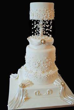 Fondant Drapes Wedding Cake Very Elaborate