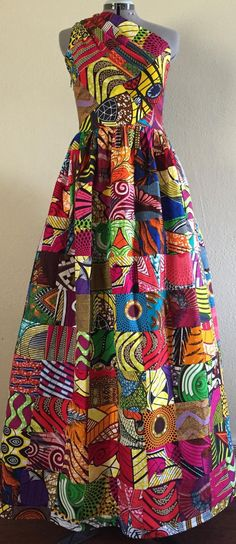 Items similar to Magnificent Reversible Patchwork One Shoulder Maxi Dress Rock Two Looks in 1 African Wax Print Cotton on Etsy African Print Dresses, African Dress, African Clothes, African Prints, Online Fashion Stores, Fashion Brands, Fashion Styles, African Fashion Designers, Ankara Fashion
