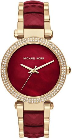 Details about New Michael Kors Parker Red Choronograph and Gold Women's Watch Item model number: Stainless steel case. Band Circumference/Length: 8 in Weight: oz. Michael Kors Jewelry, Michael Kors Watch, Stylish Watches, Watches For Men, Women's Watches, Jewelry Watches, Watches Online, Casual Watches, Garnet Jewelry