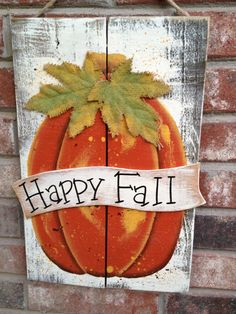 Rustic Ivory and Orange Happy Fall Pumpkin by SouthernSupply, $20.00