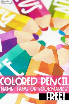 Free watercolor pencil bookmarks or name tags for your classroom!