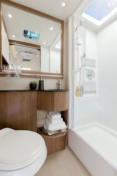 Leisure Travel Vans - 2017 Wonder; note skylight in huge shower.