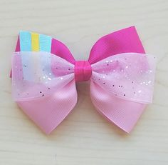 Pinkie Pie Inspired Hair Bow My Little Pony Hair by BerryTreasured
