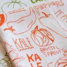Linen Tea Towel - Vegetable