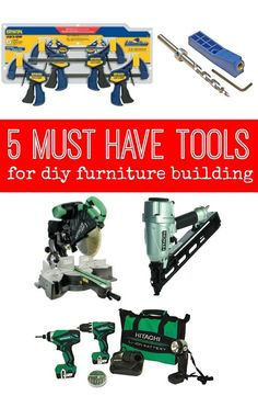 5 Must Have Tools for DIY Furniture Building — The most essential tools to build custom pieces for you home! building furniture building projects diy for beginners plans tips tools Essential Woodworking Tools, Used Woodworking Tools, Popular Woodworking, Woodworking Furniture, Woodworking Crafts, Woodworking Plans, Furniture Plans, Woodworking Workshop, Antique Furniture