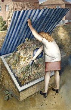 Sir Stanley Spencer RA, The Dustbin, Cookham, 1956 Stanley Spencer, English Artists, British Artists, Art Uk, Vintage Artwork, Large Painting, Watercolor Landscape, Your Paintings, Art History