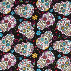 Folkloric Skulls Black from @fabricdotcom  From David Textiles, this cotton print fabric is perfect for quilting, apparel and home décor accents. Colors include scarlet, turquoise, goldenrod, magenta, lime and white on a black background.