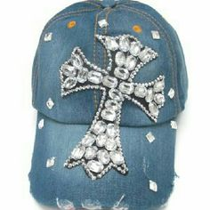 Rhinestone worn Denim Baseball Cap Theme: Cross One Size Accessories Hats