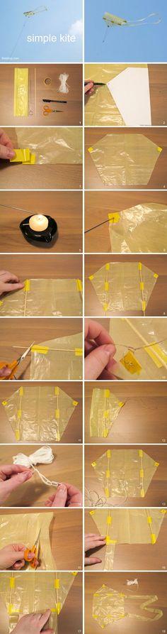 How to make a simple kite using plastic bag. (Hogyan készítsünk egyszerű papírsárkányt. Nyomtatható PDF sablon, és részletes leírás a weboldalon.)