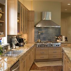 Spaces Maple Cabinets Design, Pictures, Remodel, Decor and Ideas - I like the granite