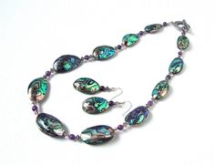 Chunky abalone shell necklace - stunning abalone shell and amethyst necklace - summer accessories by Sparkle City Jewelry