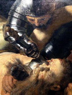 Rembrandt van Rijn, Detail of the Blinding of Samson.The Blinding of Samson - 1636. Oil on canvas, Städel, Frankfurt am Main