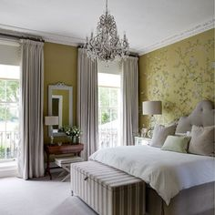 Yellow wallpaper and pompom curtains