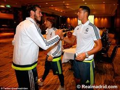 Real Madrid forward Cristiano Ronaldo (right) is welcomed to Melbourne by his team-mate Gareth Bale (left)