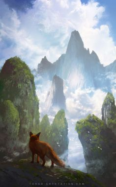 Kai Fine Art is an art website, shows painting and illustration works all over the world. Fox Fantasy, Fantasy Art, Art Fox, Tierischer Humor, Fuchs Illustration, Fantasy Paintings, Fantasy Landscape, Illustrations, Animal Drawings