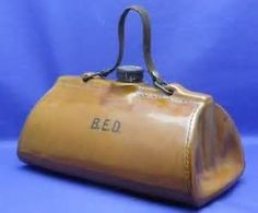 Bourne Denby Stoneware Gladstone Bag Hot Water Bottle Foot Warmer late 1800s
