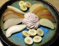 Eat this! It will change your life! Healthy! *Creamy Peanut Butter Dip* -one 5.3 ounce container of nonfat oikos greek vanilla yogurt -2 tbsp peanut butter - 1/2 tbsp honey -1/8 teaspoon cinnamon Makes four 2 tbsp servings (66 cals) Serve with bananas or apples""