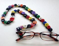 Eyeglass Chain in Vintage Buttons Rainbow Colors by MRSButtons