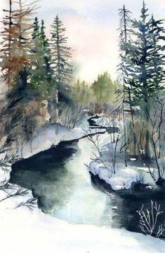Ideas For Winter Landscape Watercolor Beautiful Watercolor Pictures, Watercolor Landscape Paintings, Watercolor Trees, Watercolour Painting, Painting & Drawing, Drawing Drawing, Watercolors, Drawing Ideas, Watercolor Water